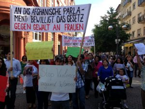 """گزارش مظاهره به دفاع از """"قانون منع خشونت علیه زنان"""" در شهر فرانکفورت"""