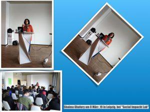 "Shaima Ghafury am 8.März 2019 in Leipzig beim ""Sozial Impacht Lab"""