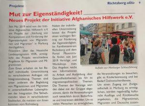 """""""Mut zur Eigenständigkeit"""" – Projektbericht im Richtsberg aktiv April 2020"""